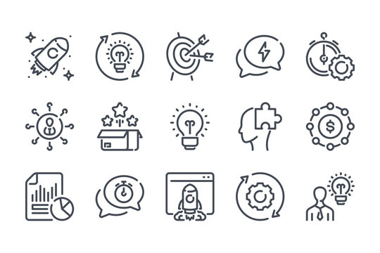 Startup related line icon set. Creative idea linear icons. Launch of the project outline vector sign collection.