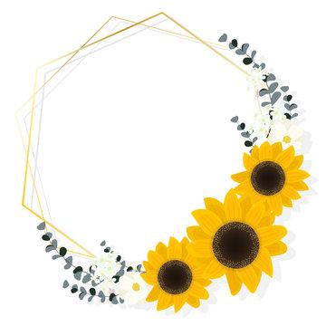 flat style sunflower eucalyptus with golden frame wreath on white background