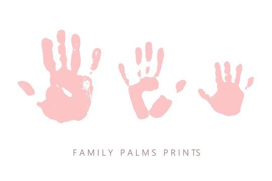 Palm prints. Family hands paint marks. Grunge rough texture.