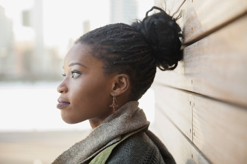 Side view of thoughtful woman outdoors