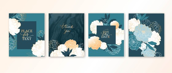 Elegant luxury card template with flowers, peonies and marble texture.