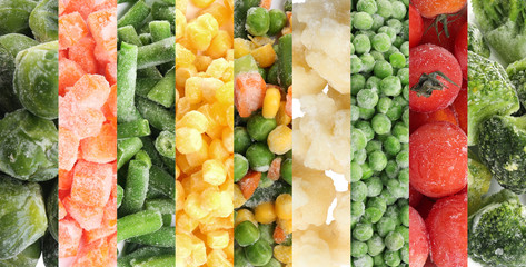 Collage with different frozen vegetables as background, top view