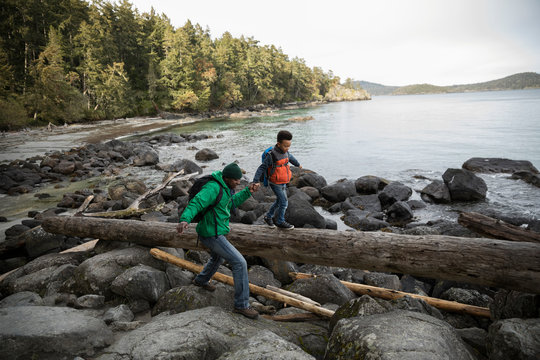 Father and son crossing rocks and fallen log on rugged beach