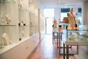Jewelry on display in boutique