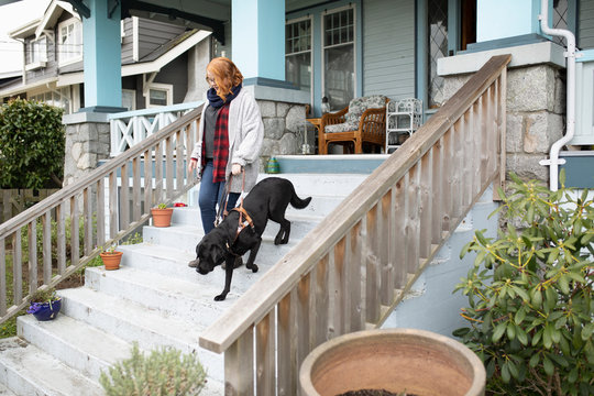 Seeing eye dog leading visually impaired woman down stairs