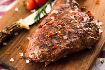 Aluminium Prints Grill / Barbecue fresh quality expensive pork beef steak in a restaurant