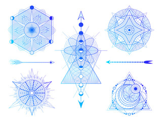 Vector set of Sacred geometry symbols with moon, sun, and arrows on white background. Abstract mystic signs collection.