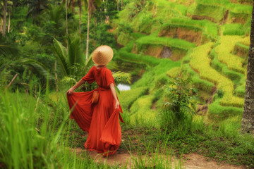 Woman walking on Tegalalang Rice Terrace, Bali