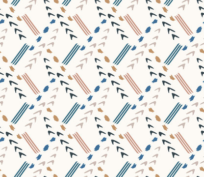 Hand drawn whimsical scribble lines seamless pattern. Vector painterly textured organic arrow doodle marks background. Playful gender neutral abstract geometric sketchy repeat. Ethnic all over print.