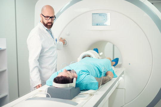 Patient visiting MRI procedure in a hospital