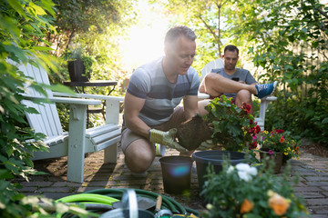 Gay male couple planting flowers on summer patio