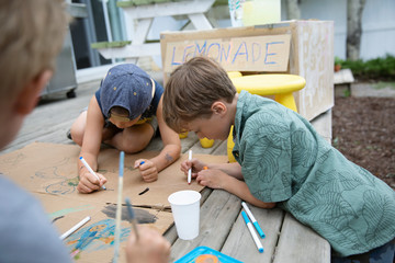 Brothers painting lemonade stand in back yard