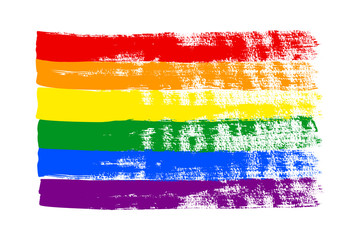 Grunge LGBT pride flag. Abstract rainbow flag texture hand drawn with a ink. Vector Multicolored background