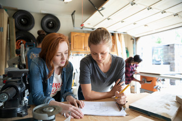 Young women friends woodworking, planning in garage