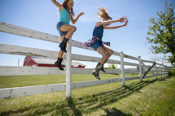 Playful sisters jumping off fence at sunny rural farm