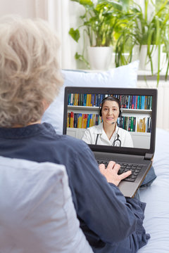 Telemedicine, telehealth concept: rear view of an old woman having a video call with her physician on her sofa.