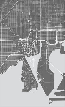 map of the city of Tampa, Florida, USA