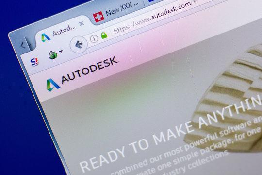 Ryazan, Russia - May 08, 2018: Autodesk website on the display of PC, url - Autodesk.com.
