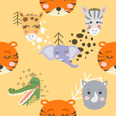 forest animal seamless pattern. hand drawn illustration