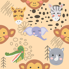 Cartoon cute animal tribal faces. Boho cute animals pattern