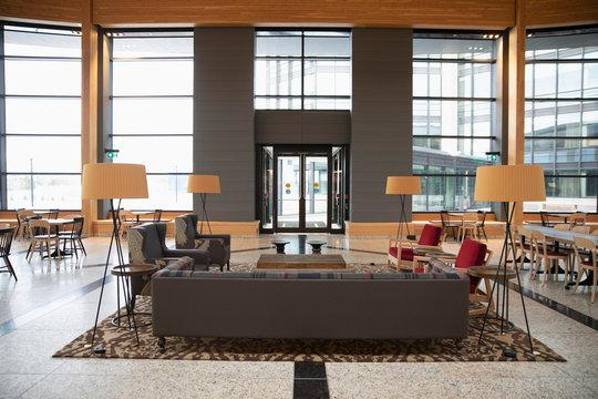 Sitting area in modern office lobby
