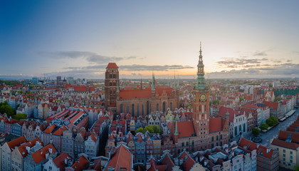 Aerial view to old town in Gdansk.