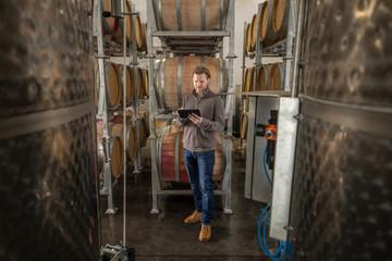 Winemaker with digital tablet examining wine casks in vineyard