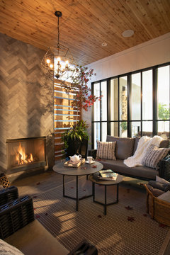 Home showcase interior living room with fireplace and wood ceiling