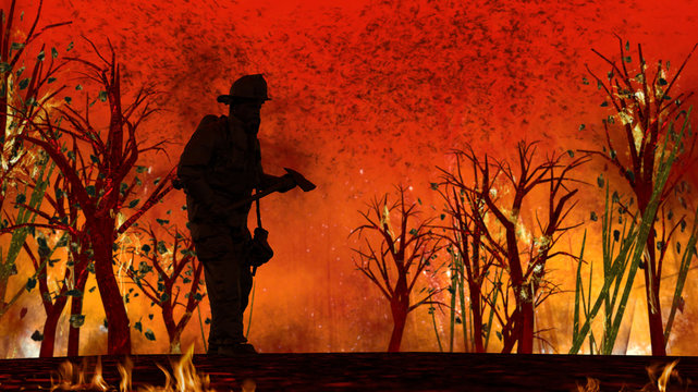 Firefighter at center of fire in forest holding his equipment. 3d rendering