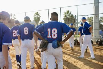 Baseball team walking off field