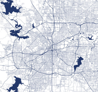 map of the city of Fort Worth, Texas, USA