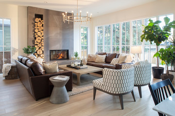 Home showcase interior living room with fireplace