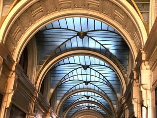 ceiling of a gallery inside. Windows and art decor design. Interior design