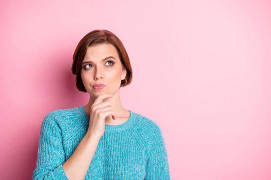 Close-up portrait of her she nice attractive lovely doubtful brown-haired girl thinking learning subject science choosing option isolated over pink pastel color background