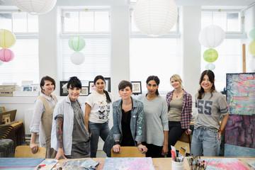 Portrait confident women in art class