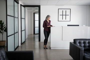 Businesswoman standing at reception desk in office