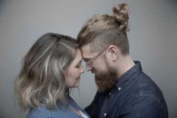 Profile portrait serene, affectionate couple