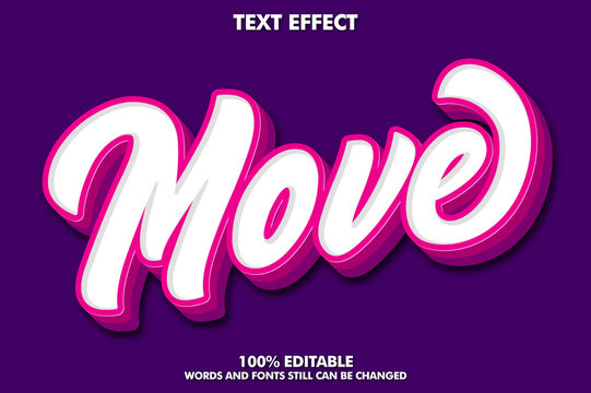 Modern brush text effect with pink extrude