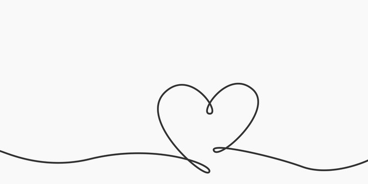 Heart shape line. Hand drawn calligraphic element. Element for Valentine's day, wedding. Outline shape