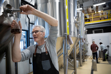 Senior male brewer examining beer at distillation tank in brewhouse distillery Fototapete