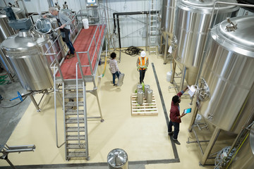 Brewers checking fermentation tanks in brewhouse distillery Fototapete