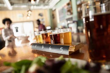 Beer tasting flight in brewhouse
