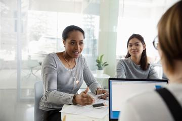 Female interior designers meeting in office