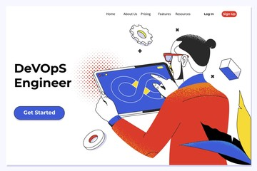 DevOps - development cycles of Automation and monitoring at all steps of software construction. Man writing script ai tech support devops creating digital solution front-end. Vector illustration