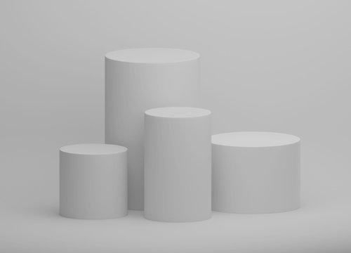 並んだ白色の円柱台3DCG画像