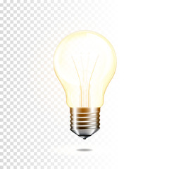 Wall Mural - Realistic transparent light bulb, isolated.