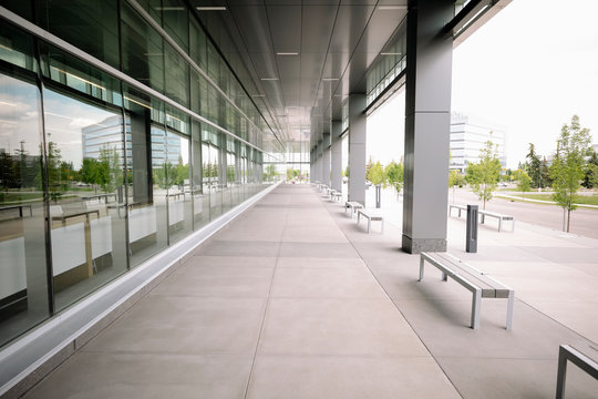 Modern university building exterior with empty paving