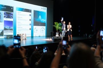 App development speakers on stage