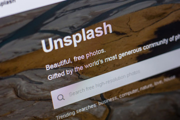 Ryazan, Russia - May 20, 2018: Homepage of Unsplash website on the display of PC, url - Unsplash.com.