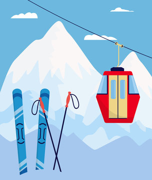 Winter ski resort poster with skiing equipment and red cableway car